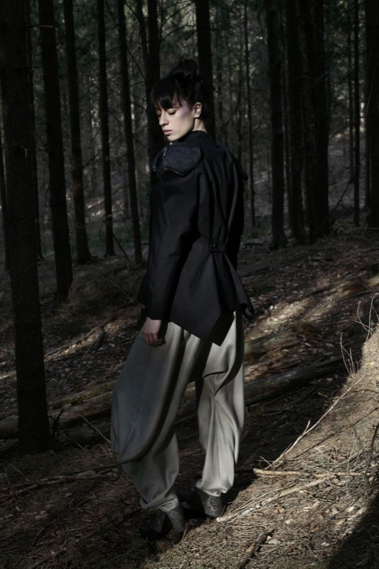 Alja Slemensek - Fashion Collection - Origami Warrior - Olive Pants from the Back