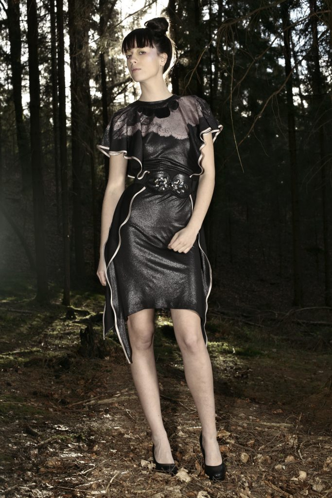 Alja Slemensek - Fashion Collection - Origami Warrior - Black Dress with the Print