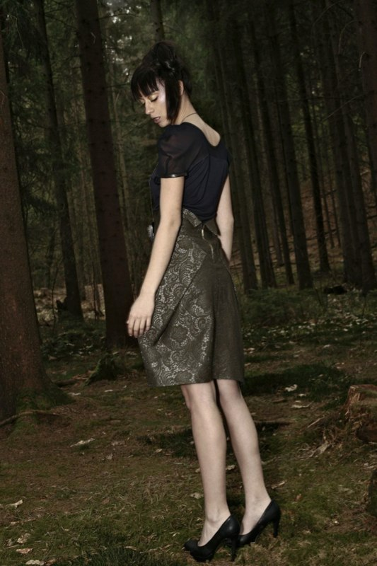 Alja Slemensek - Fashion Collection - Origami Warrior - Green Pattern Skirt