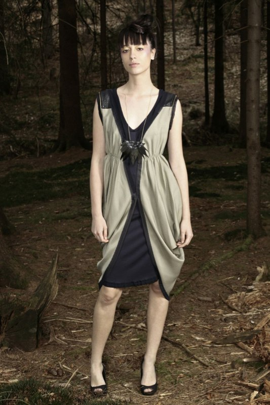 Alja Slemensek - Fashion Collection - Origami Warrior - Olive & Blue Dress