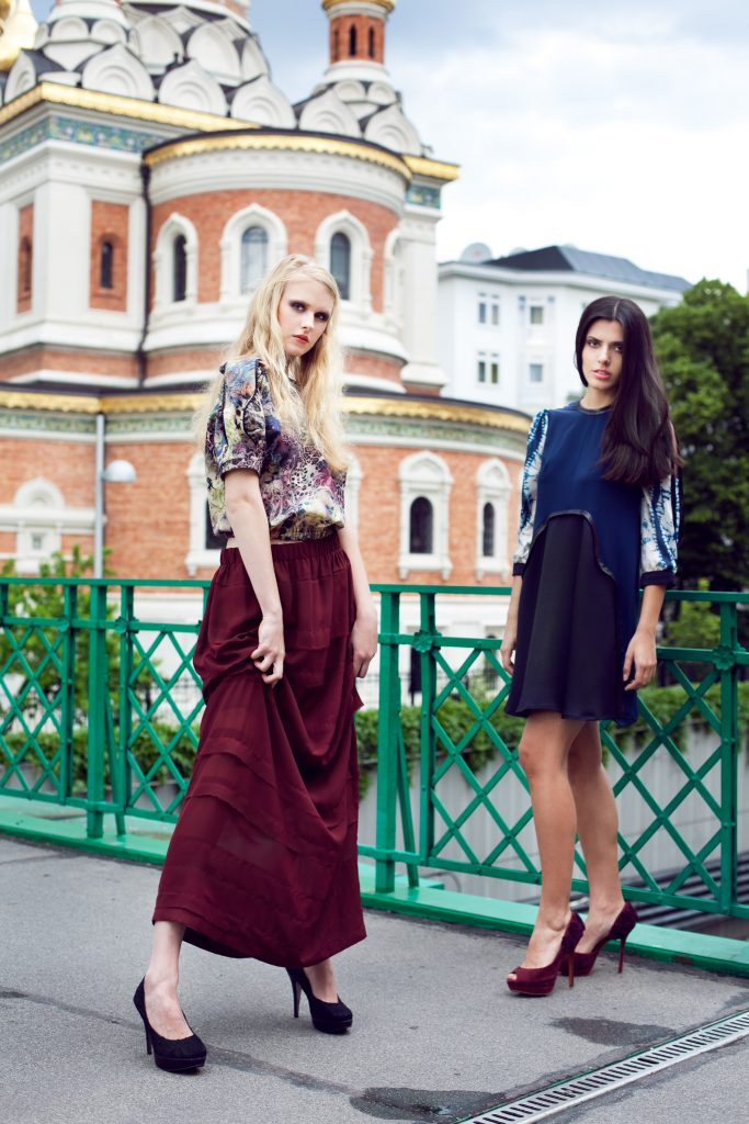 Alja Slemensek - Fashion Collection - Fresh Deco - Dark Red Skirt & Pattern Top