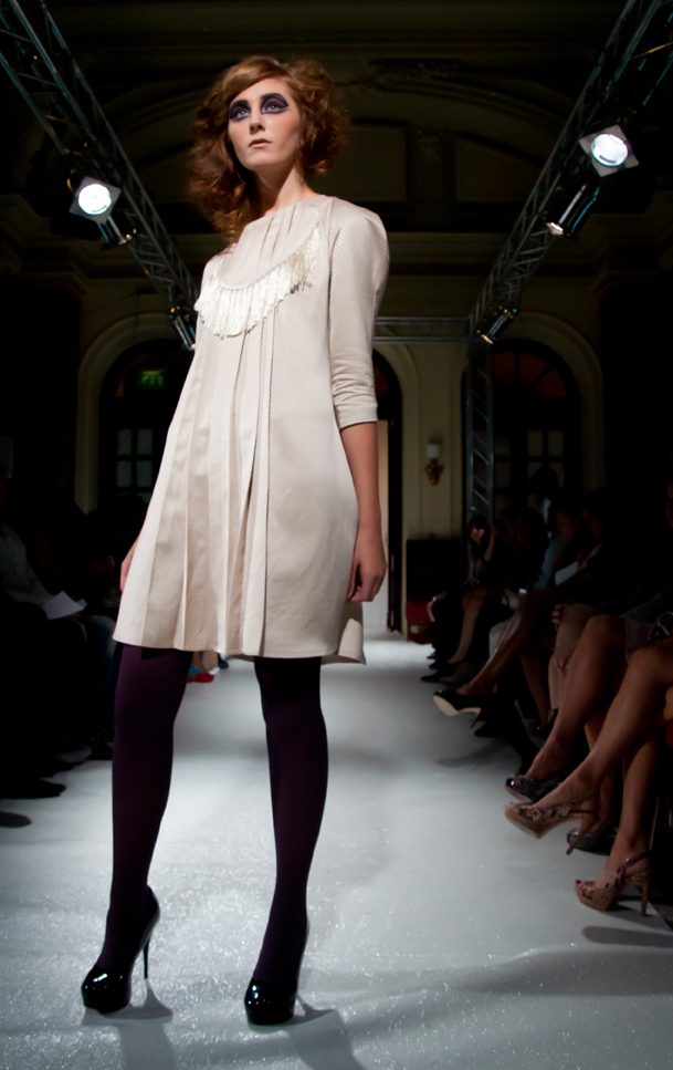 Alja Slemensek - My Story - White Dress for A La Mode Catwalk in London, 2011
