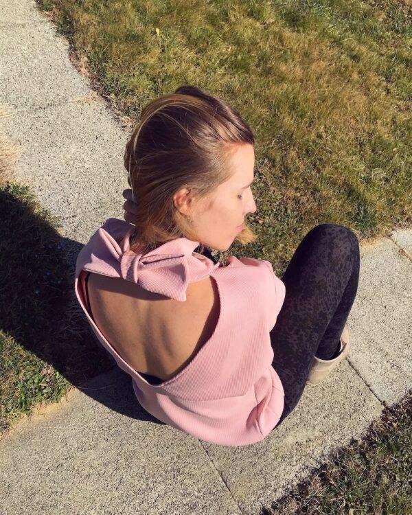 Organic cotton sweater pink bow