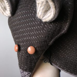 Brown Fox Scarf with Orange Button Eyes