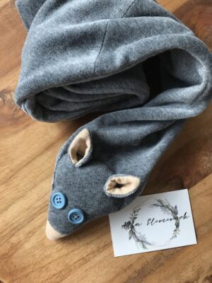 Organic fox scarf for kids soft grey blue eyes