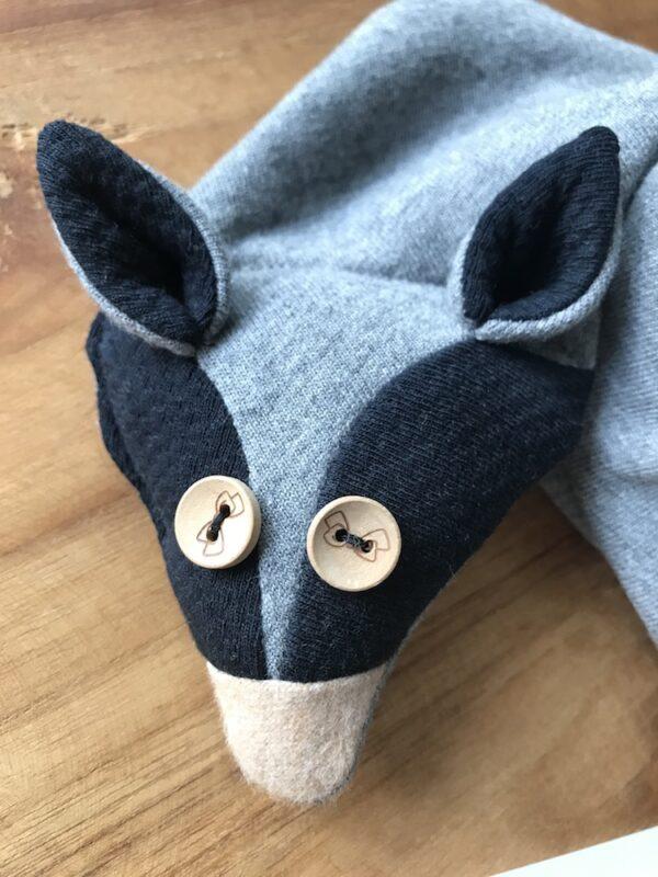 Organic fox scarf kids grey bow eyes