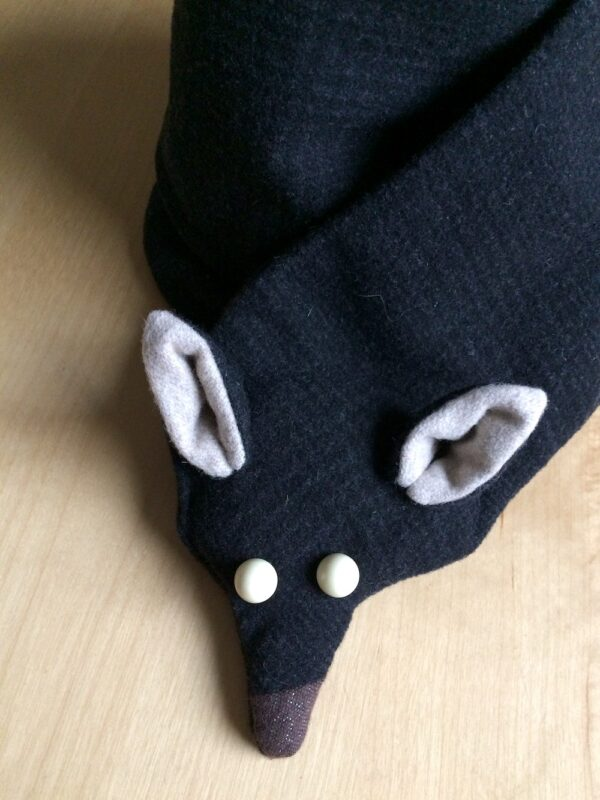 Black fox scarf and white button eyes