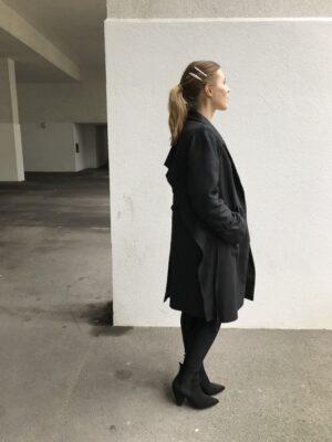 Damen Trenchcoat aus Bio-Baumwolle - Schwarz - Seite