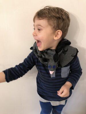 Dino Black Grey Kids Scarf