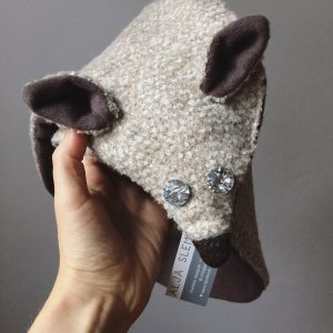 Fox Scarf Coffee Beige Crystal Eyes