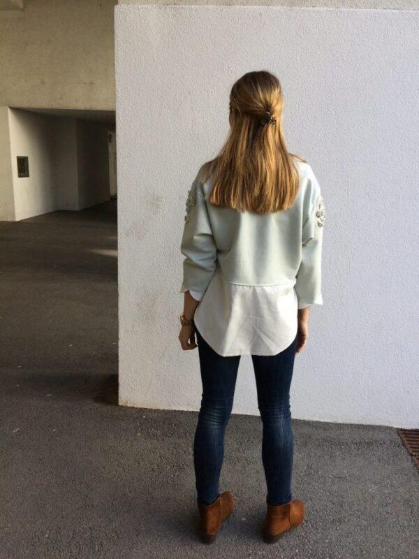 Damen Pullover aus Bio-Baumwolle - Kristall Rose - Rückseite