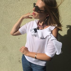 Organic Cotton T-shirt with Flared Collar