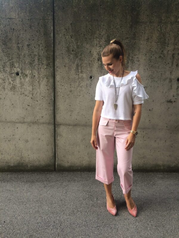 Carmenbluse aus Bio-Baumwolle - Mesh - mit Hosen