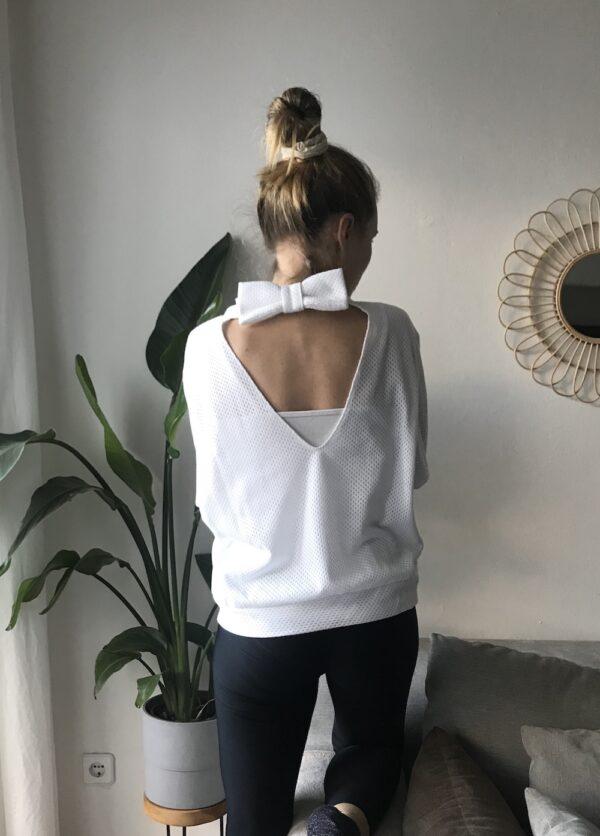 Organic cotton mesh bow sweater white