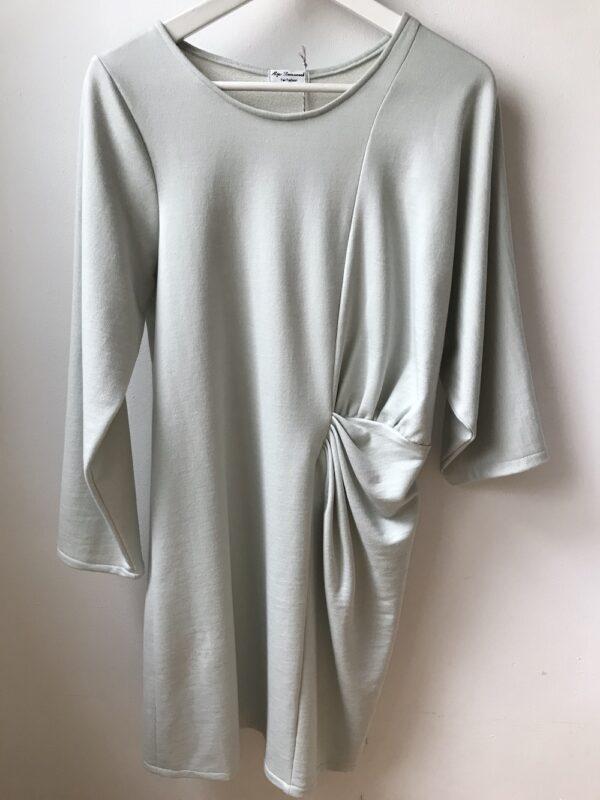 Langarm Kleid aus Bio-Baumwolle - Plisse - Gehängt
