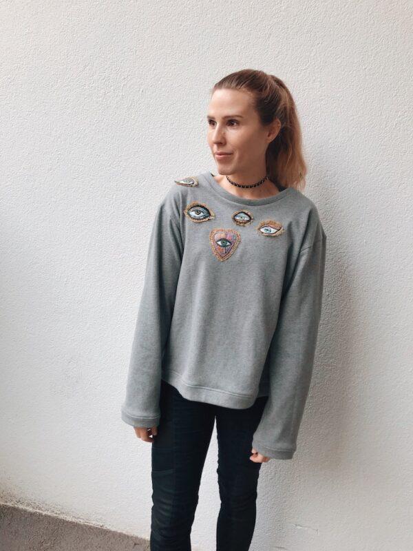 Sweater Hand Embroidery - Organic - Grey - Mood