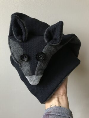 Vegan fox scarf for Women - Grey & Blue - Detail
