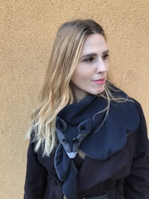Vegan fox scarf for Women - Grey & Blue - Look