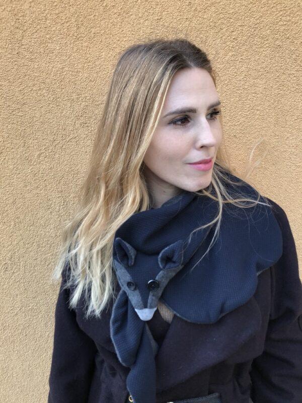 Vegan fox scarf for Women - Grey & Blue - Look