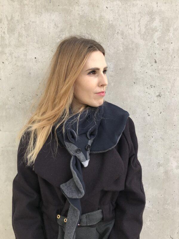 Vegan fox scarf for Women - Grey & Blue - Mood