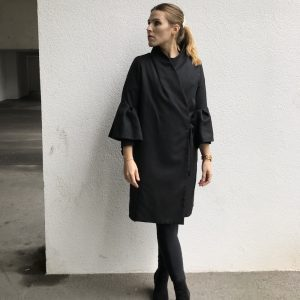 Black organic wrap coat