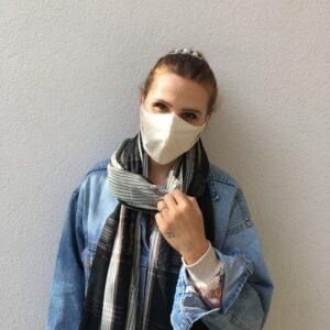 Maske aus Bio-Baumwolle mit Gummiband - Damen - Weiß