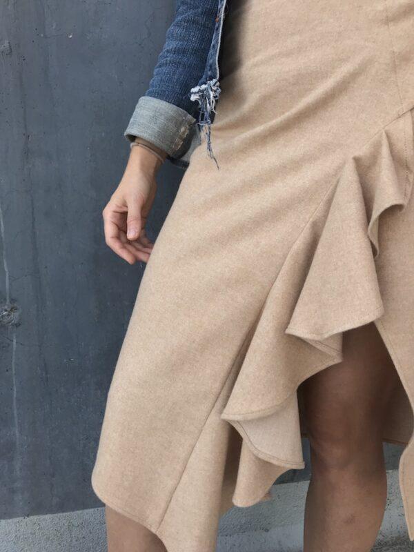 Handmade ruffle wrap skirt - beige - detail