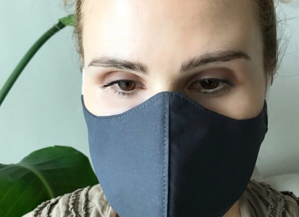 Organic cotton face mask - black - with ties
