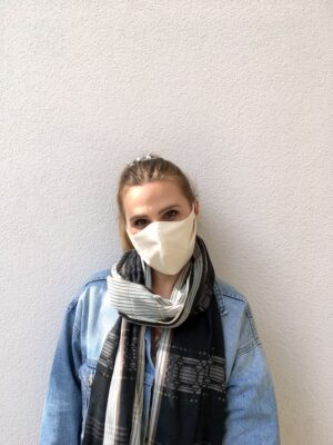 Organic cotton face mask - white - with ties