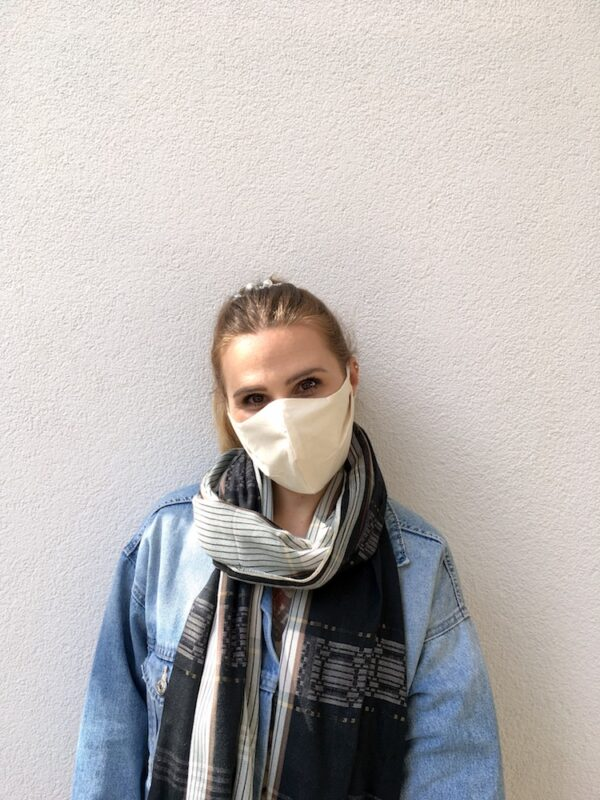 Mundschutz aus Bio-Baumwolle mit Bändern - Weiß