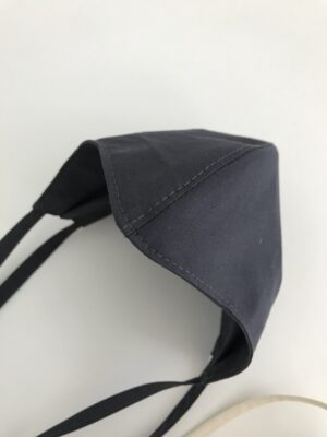 Organic cotton face mask - black - with ties - detail