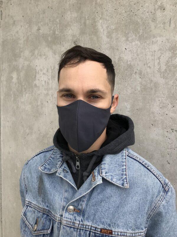 Mundschutz aus Bio-Baumwolle mit Bändern - Schwarz - Männer