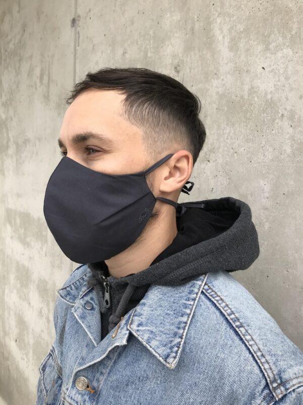 Mundschutz aus Bio-Baumwolle mit Bändern - Schwarz - Männer - Seite