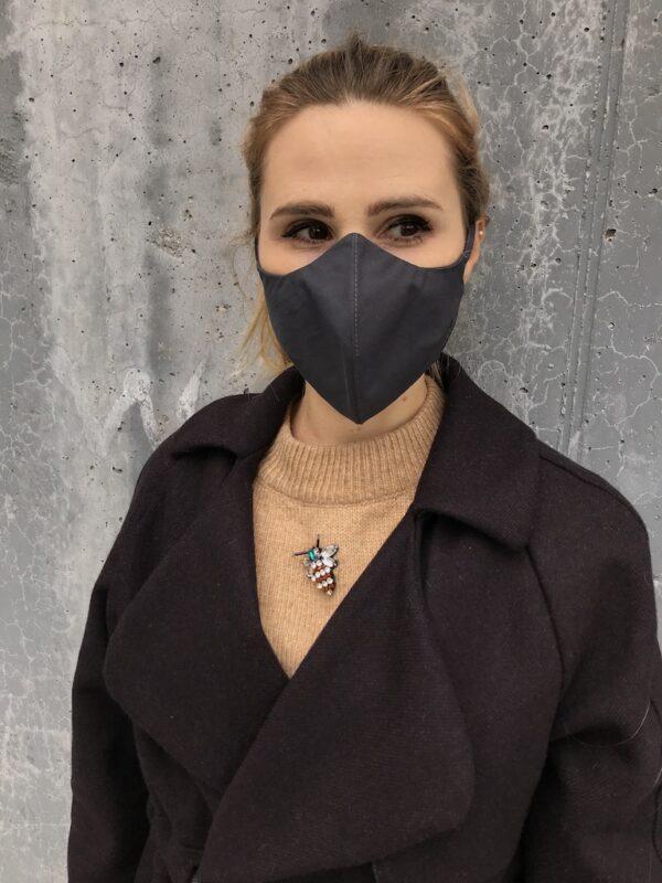 Mundschutz aus Bio-Baumwolle mit Bändern - Schwarz - Damen