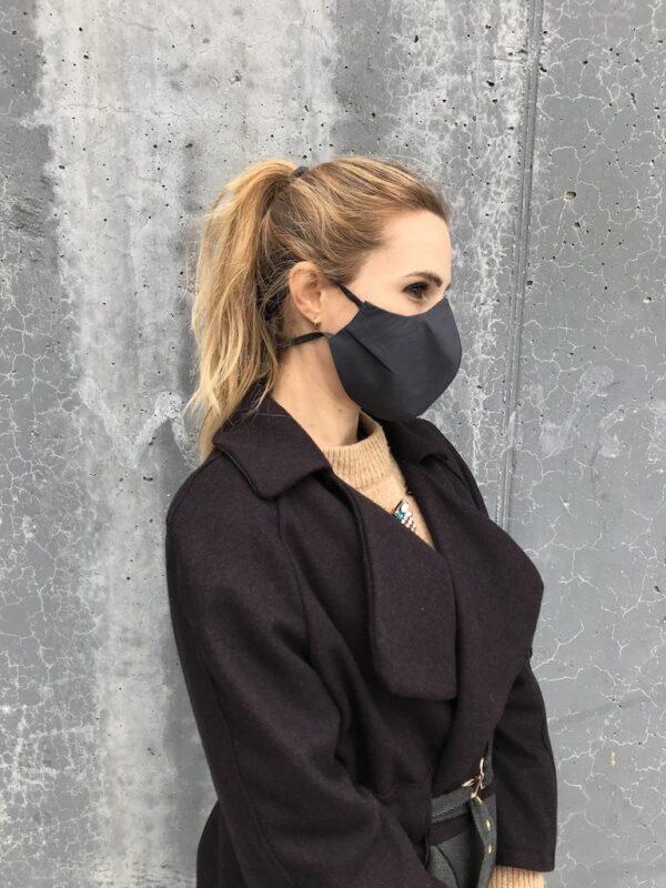 Mundschutz aus Bio-Baumwolle mit Bändern - Schwarz - Damen - Seite