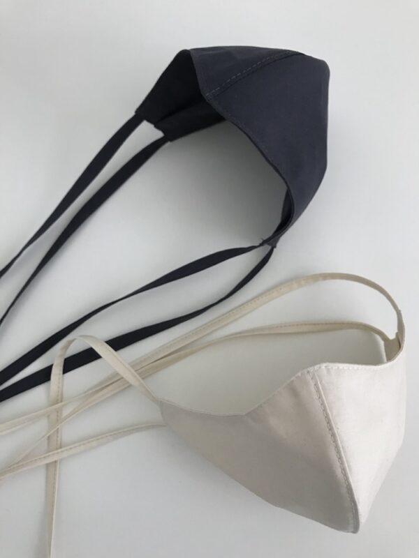 Mundschutz aus Bio-Baumwolle mit Bändern - Weiß - Detail