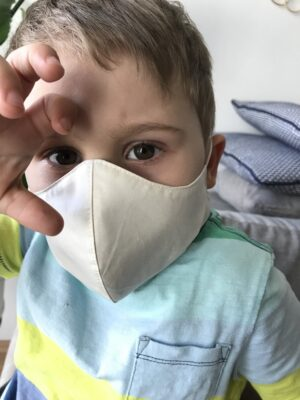 Organic cotton face mask for kids - white - with ties