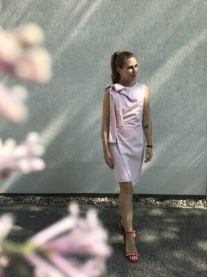 Rosa Kleid mit Schleife aus Bio-Baumwolle - Mood