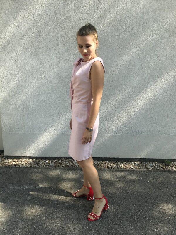 Rosa Kleid mit Schleife aus Bio-Baumwolle - Links