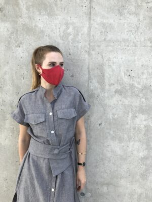 Red face mask with ties - organic cotton - mood
