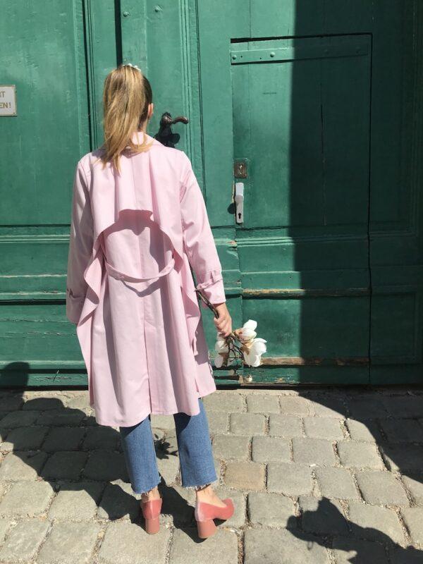 Women's Trench Coat - Organic Cotton - Pink - Back