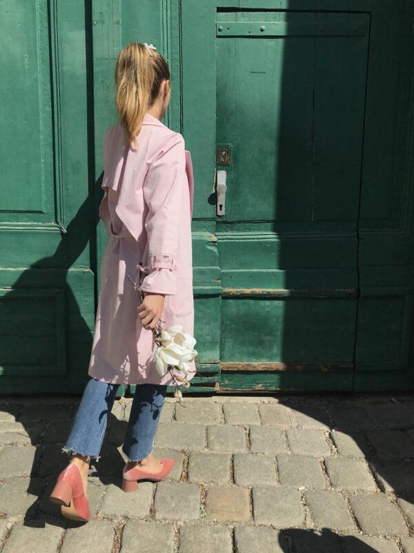 Women's Trench Coat - Organic Cotton - Pink - Detail