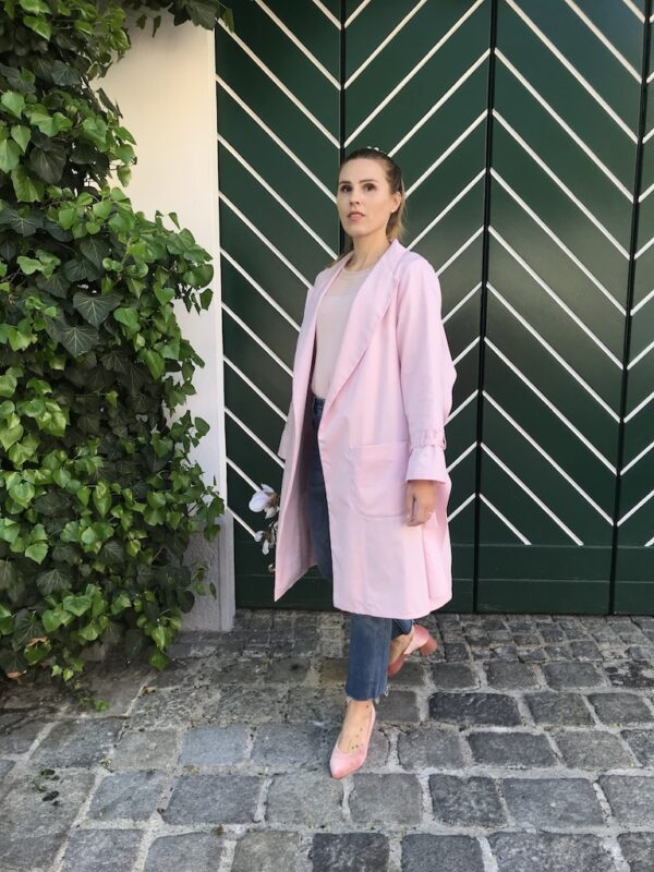 Women's Trench Coat - Organic Cotton - Pink - Front