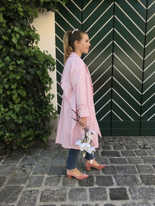 Women's Trench Coat - Organic Cotton - Pink - Mood