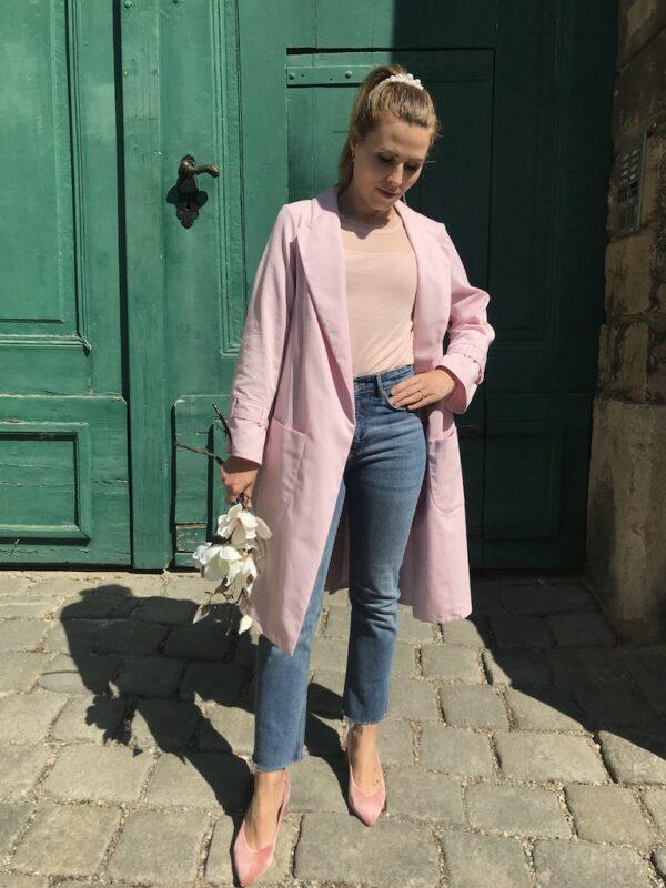 Women's Trench Coat - Organic Cotton - Pink - Open
