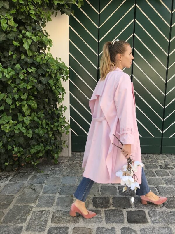 Women's Trench Coat - Organic Cotton - Pink - Side