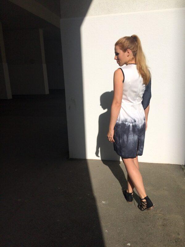 Asymmetric Tie-dye Dress - White & Grey - Back