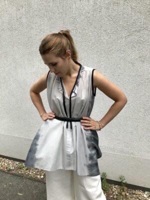 Sleeveless Long Blouse - with Belt - Grey