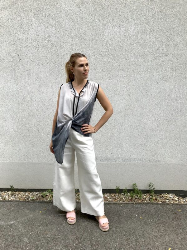 Sleeveless Long Blouse - with Pants - Grey