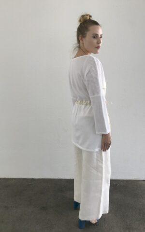 White Mesh Blouse - Organic Cotton - Back
